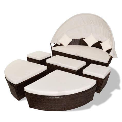 canapé lit rond canape de jardin rond modulable en résine tressée