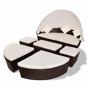 canape de jardin rond modulable en resine tressee With canapé lit rond