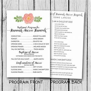 Baptism Announcement Template Lds Baptism Program Watercolor By Lucky7dsigns On Etsy