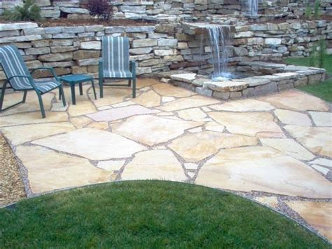 flagstone patio sand set retaining walls pond and