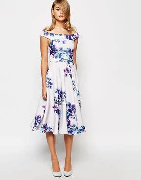 midi dresses for wedding guest true violet bardot midi dress in floral print asos the merry