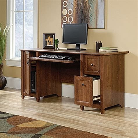 edge water computer desk auburn cherry d 419395 sauder woodworking afw