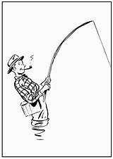 Coloring Fishing Boy sketch template