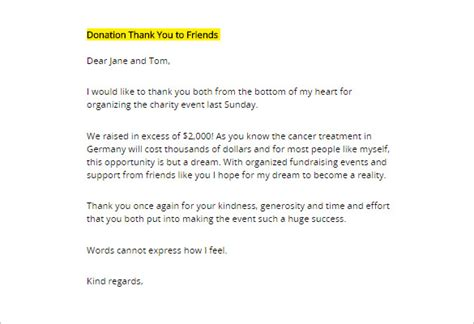 thank you letter for gift donor thank you letter 10 free sle exle format 20160