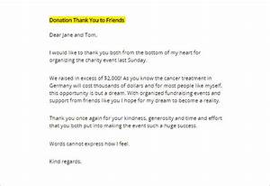 thank you letter for donation 9 free sample example With thank you letter for helping with fundraiser