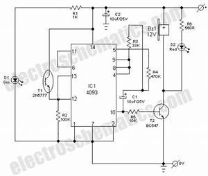 Light Fence Security Alarm Circuit Schematic