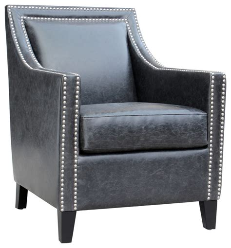 Distressed Leather Armchair by Distressed Leather Arm Chair Black Transitional