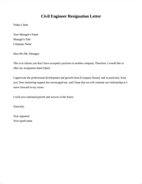 resignation letter format  civil engineer cover