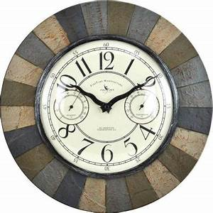 Firstime 155 in slate garden indoor outdoor clock 99054 for Outdoor wall clocks home depot