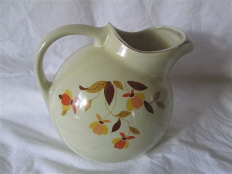 vintage 39 s superior quality vintage tilt pitcher autumn leaves ivory pottery