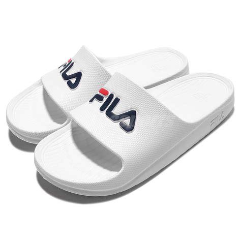sandal navy fila s355q solid all white navy sport sandal