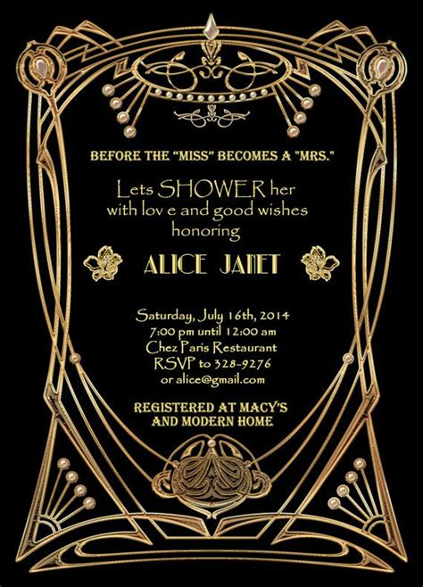 great gatsby style art deco bridal shower invitation