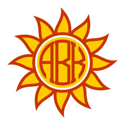 sun monogram frame svg cuttable designs