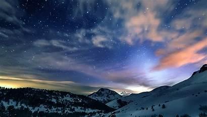 Sky Winter Snow Mountain 4k Stars Desktop