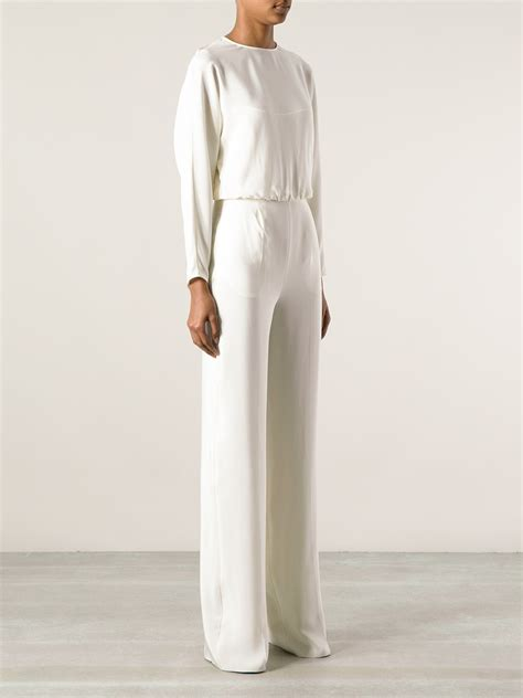 sleeve white jumpsuit valentino sleeve jumpsuit in white lyst