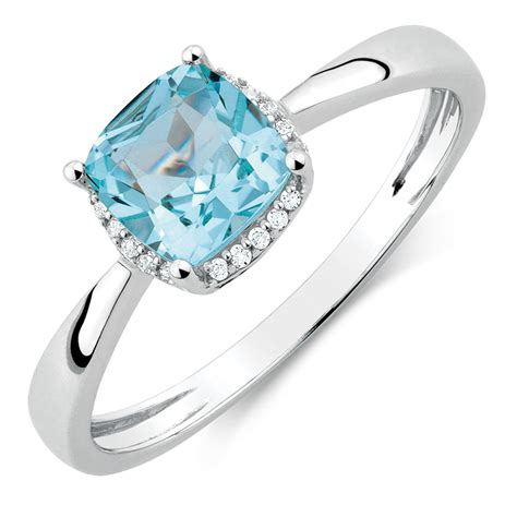 gold princess cut engagement rings ring with aquamarine diamonds in 10ct white gold