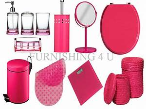 11pc hot pink bathroom accessories set bin toilet seat With hot pink bathroom sets