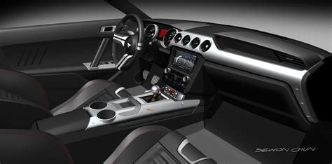 ford mustang interior design rendering theme