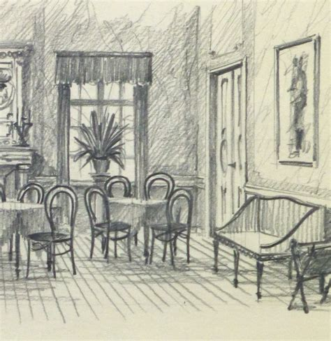 dining room drawing pencil drawing dining room circa 1950 78889