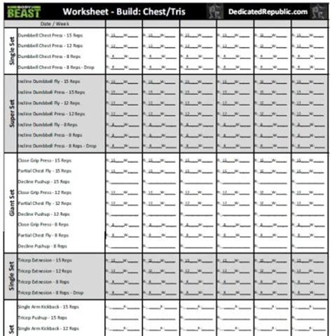 beast tempo workout sheets search results