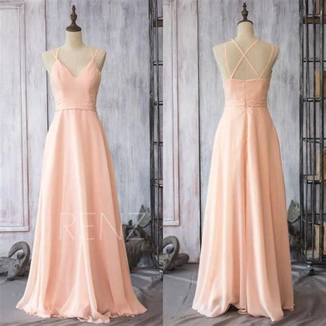 peach chiffon bridesmaid dress blush pink wedding
