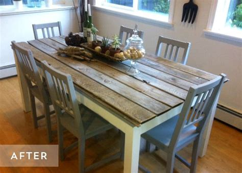 transformer une table de cuisine diy relooker une table avec des lames de parquet