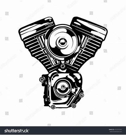 Engine Motorcycle Vector Retro Monochrome Colors Shutterstock