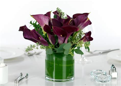 wedding centerpieces calla lilies purple miniature calla