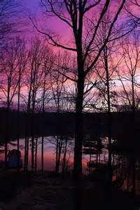 Purple Sunset On Lake