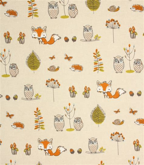 Material For Curtains Uk woodland fox fabric terracotta just fabrics