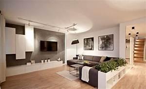 Deco Mural Salon : d co salon salon moderne avec parquet canap gris meuble tv bas et colonnes en blanc et ~ Teatrodelosmanantiales.com Idées de Décoration