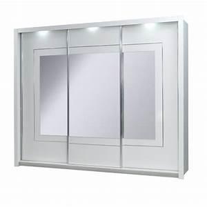 Armoire 3 Portes Coulissantes PANAREA Miroirs LED Achat