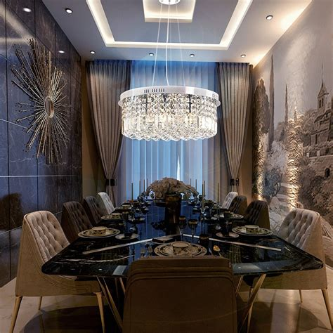 modern  drum crystal chandelier dining room pendant