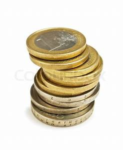 Stack coins isolated on white | Stock Photo | Colourbox