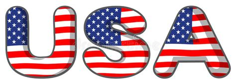 Letter Usa by The Usa Letters Stock Vector Illustration Of Ensign