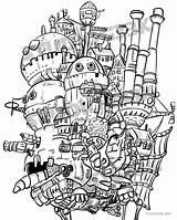 Ghibli Howl Howls Calcifer Colouring Ambulante Totoros Ideias Errante Wickedbabesblog sketch template