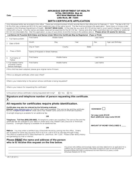 Ar Application Resume by Birth Certificate Application Arkansas Free