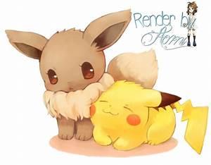 Eevee y Pikachu Cute Render by AomiNaito on DeviantArt