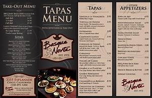 tapas menu template - basque norte tapas menu carta restaurante pinterest