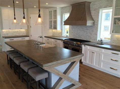 concrete island kitchen big kitchen island country concrete countertops 2424