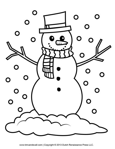 snowman clipart template printable coloring pages