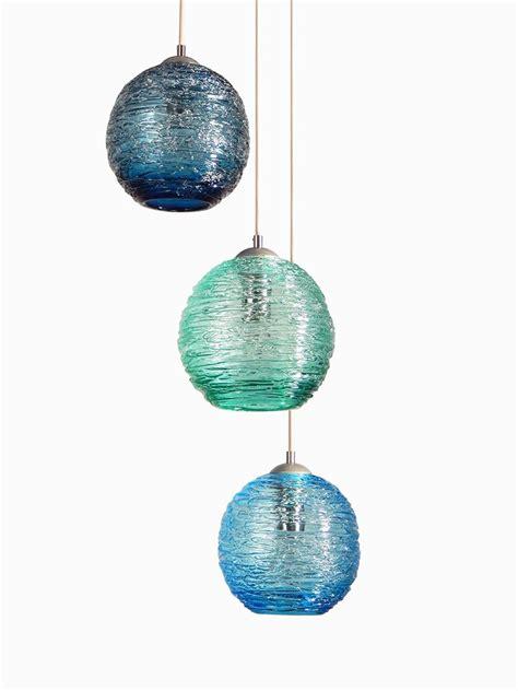 hand  multiple globe spun glass cluster pendant