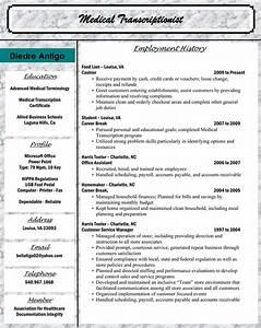 Medical Billing Specialist Cover Letter Allied Student Diedre Antigo Medical Transcriptionist