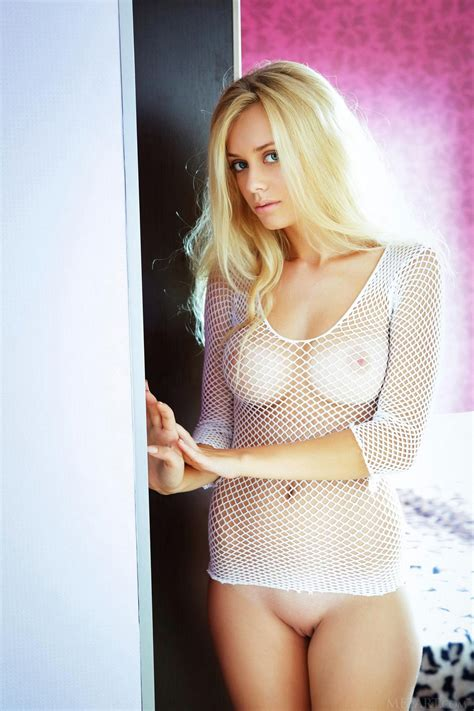 Jennifer Mackay in white fishnet strips and poses for your pleasure - My Pornstar Book