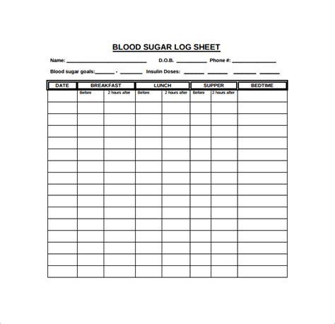 blood sugar log book template 9 blood sugar log templates to sle templates