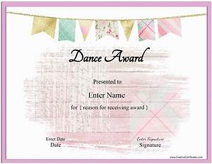 Customizable Award Certificates Free Dance Certificate Template Customizable And Printable