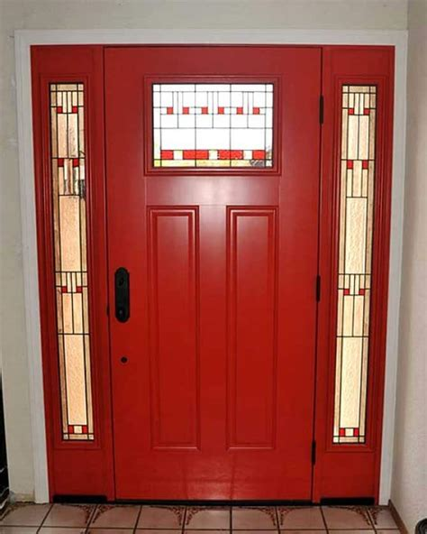 red front door  stained glass sidelights angies list