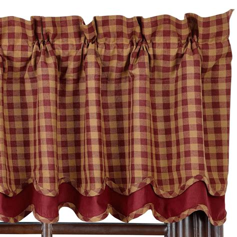 burgundy valance check scalloped lined layered valance burgundy and tan or navy and tan ebay