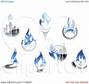 Clipart of Gas and Oil Industry Logos with Blue Flames ...