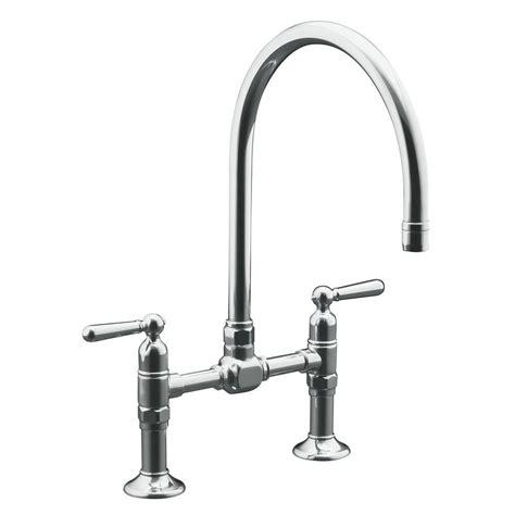 kitchen faucet 4 kohler hirise deck mount 12 in 2 handle high arc bridge